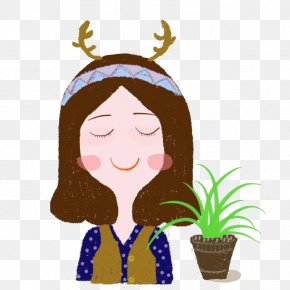 Cartoon Balcony Potted - Elk Deer Clip Art PNG