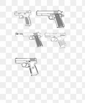 Sketch Military Pistol - Firearm Pistol Weapon Handgun PNG