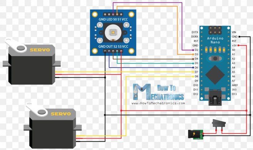wiring diagram arduino servomotor color vehicle audio png