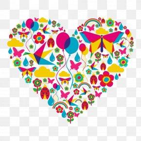 Heart Butterflies - Beetle Heart Spring Illustration PNG