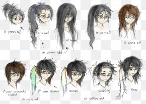 Hair Style - Hair Coloring Human Hair Color Black Hair Long Hair PNG