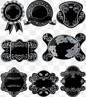 European Silver Trim Vintage Black Label - Euclidean Vector Label Illustration PNG