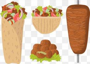 Vector Painted Barbecue Food Related - Arab Cuisine Falafel Kebab Shawarma Barbecue PNG