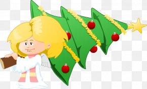 Xmas Angels Cliparts - Christmas Tree Angel Nativity Scene Clip Art PNG