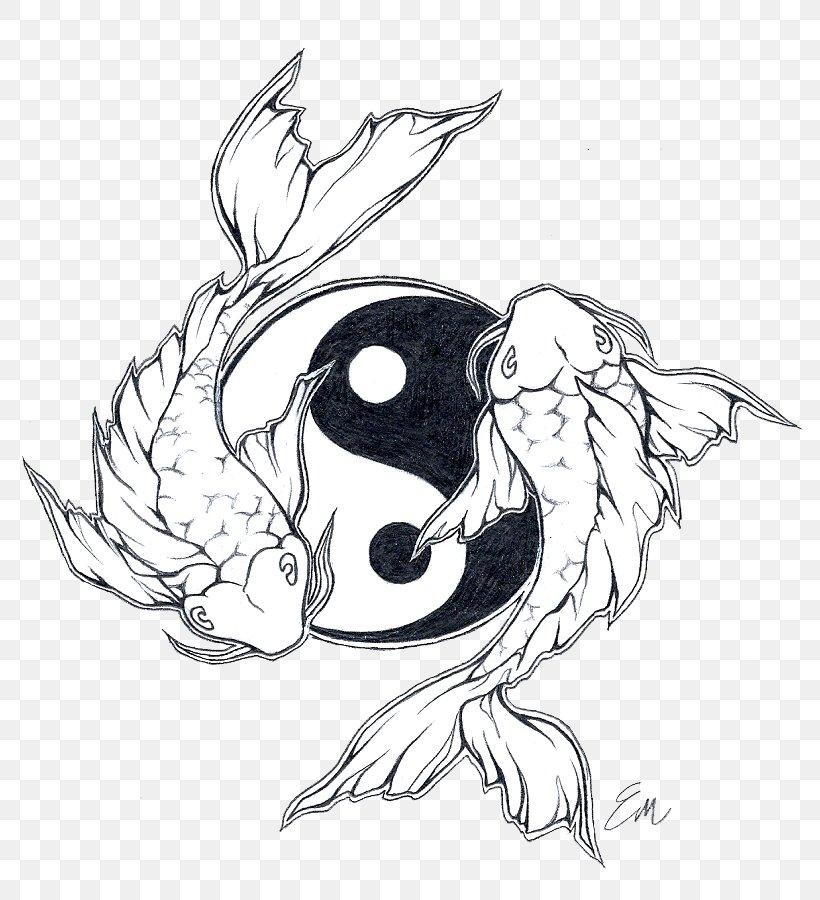 Butterfly Koi Yin Yang Fish Yin And Yang Tattoo Png 802x900px Koi Art Artwork Beak Bird