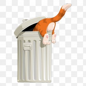 Trash And Vector Cat - Cat Waste Container Clip Art PNG