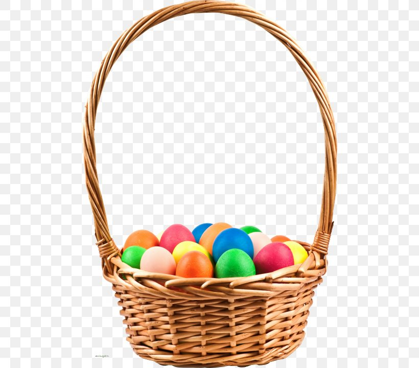 Easter Bunny Basket Easter Egg Wicker Png 500x720px