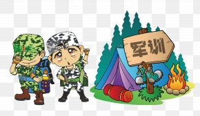 Cartoon Character, Military Training, Summer Camp, Tent PNG