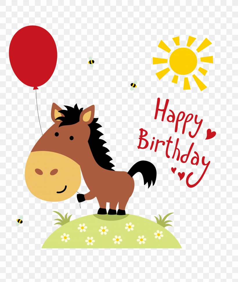 Horse Birthday Greeting Card Wedding Invitation Clip Art, PNG, 2508x2972px, Horse, Area, Art, Balloon, Birthday Download Free