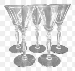 Antique Crystal Aperitif Glasses - Wine Glass Martini Champagne Glass Highball Glass PNG