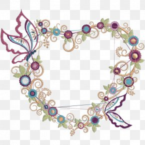 Flower - Embroidery Matrix Flower Heart Sewing Machines PNG
