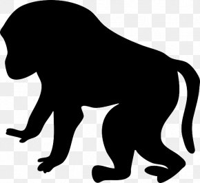 Animal Silhouettes - Baboons Mandrill Ape Clip Art PNG