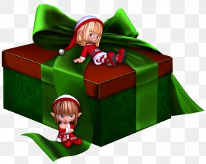 Green And Red 3D Present With Elfs Clipart - Gift Clip Art PNG