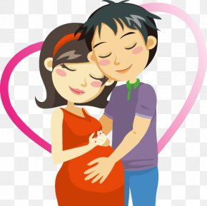 Hand Drawn Heart-shaped Pattern Pregnant Couple - Pregnancy Cartoon Clip Art PNG