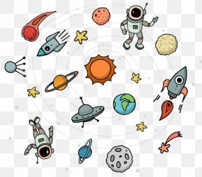Hand-painted Universe Space Planets Astronaut - Outer Space Universe Euclidean Vector PNG