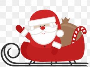 Sant Silhouette - Santa Claus Clip Art Christmas Sled PNG