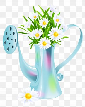 Water Can With Daisies Clipart Picture - Watering Can Clip Art PNG