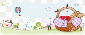 Maternal And Child Lovely Cartoon Template - Picnic Basket Illustration PNG