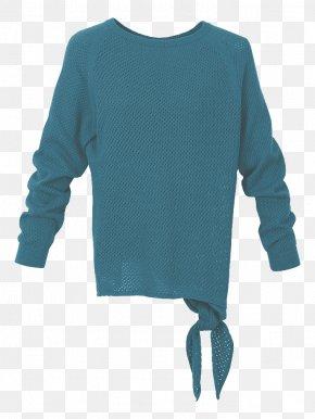Aqua - Sleeve Sweater Bluza Outerwear Neck PNG