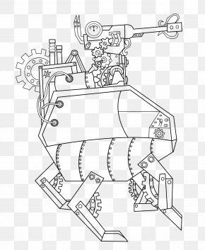 Steampunk Line Art - Line Art Drawing PNG