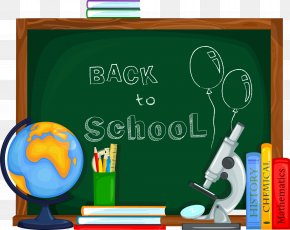 School Supplies And Chalkboard - School Clip Art PNG