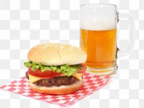 Burger And Beer - Hamburger Beer Veggie Burger Cheeseburger French Fries PNG