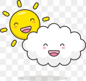Lovely White Clouds And The Sun - Cloud Drawing Euclidean Vector Sun PNG