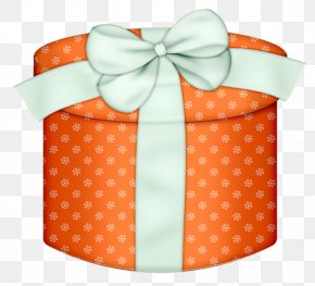 Orange Round Gift Box With White Bow Clipart - Box Gift Wrapping Clip Art PNG