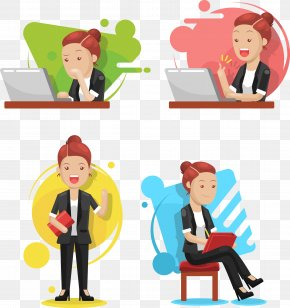 Vector Hand-painted Work Woman - Rxe9sumxe9 Professional Businessperson Clip Art PNG