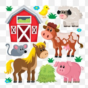 Vector Farm Animals - Domestic Pig Livestock Sheep Farm Clip Art PNG