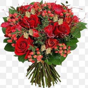 Red Bouquet - Flower Bouquet Garden Roses Florist Gift PNG