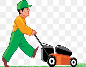 Cutting Grass Cliparts - Lawn Mower Cutting Clip Art PNG