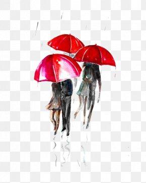 Rain - Paris Street; Rainy Day Umbrella Watercolor Painting Illustration PNG