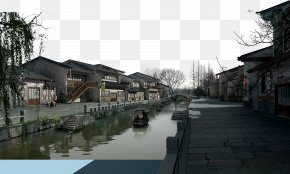 Chinese Ink Painting Model Of Jiangnan Water Town - Jiangnan Ink Wash Painting PNG