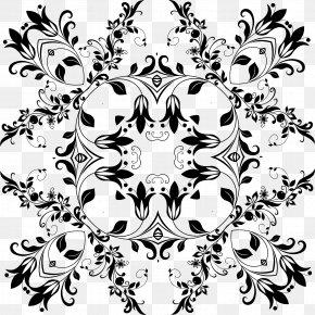 Floral Design - Flower Floral Design Black And White PNG
