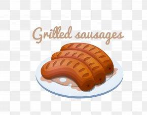 Vector Cartoon Hot Dog Food Material - Sausage Hamburger Hot Dog Barbecue Chili Con Carne PNG