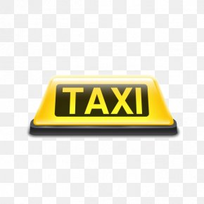 Taxi Sign - Taxi Yellow Cab Sign Roof PNG