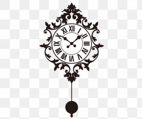 Vector Pendulum Clock - Wall Decal Clock Sticker PNG