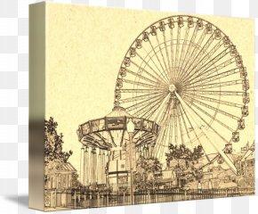 Giant Wheel - Navy Pier Ferris Wheel Drawing Art PNG