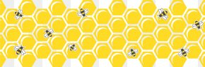 Hand-painted Yellow Honeycomb Bee - Honeycomb Honey Bee Hexagon PNG