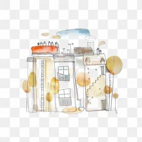 Drawing Graffiti House - Watercolor Painting Drawing Graffiti Illustration PNG