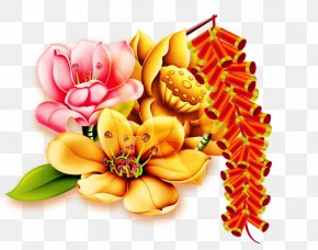 Chinese New Year Decorative Flower - Chinese New Year Traditional Chinese Holidays PNG