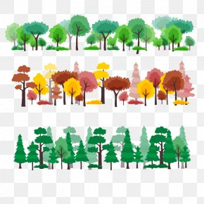 Vector Four Seasons Forest - Tree Forest Cartoon PNG