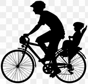 Cyclist With Child Silhouette Clip Art Image - Cycling Bicycle Pedal Clip Art PNG