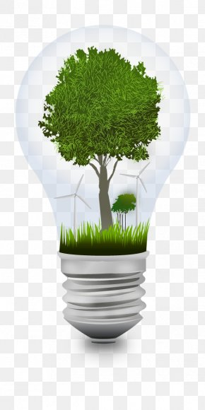 Green Light Bulb Idea - Environmental Protection Incandescent Light Bulb Energy Conservation PNG