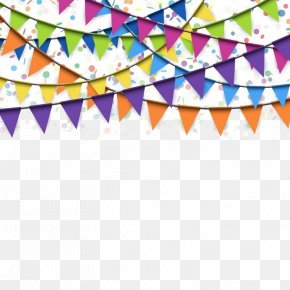 Flags Hanging Festive Atmosphere - Flag Confetti Stock Photography Banner PNG