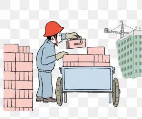 Site Workers Moving Bricks Color Illustration - Brick Laborer Illustration PNG