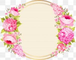Pink Flower Circle - Wedding Invitation Pink Flowers PNG