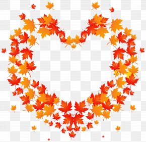Autumn Leaves Heart Transparent Clip Art Image - Autumn Leaf Color Clip Art PNG