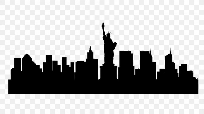 New York City Skyline Silhouette Illustration, PNG, 1000x560px, New York City, Art, Black, Black And White, Brand Download Free